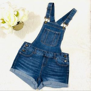 Blue Spice Faded Webbed Rolled Denim Short Overall